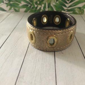 Coach leather gold bracelet, gold eyelets